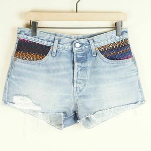 Levis Made Crafted 501 Embroidered Denim Shorts 27